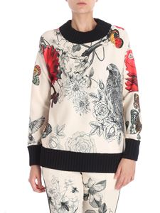 Moncler - Cream color sweatshirt with red flowers