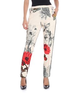 Moncler - Cream color trousers with red flowers
