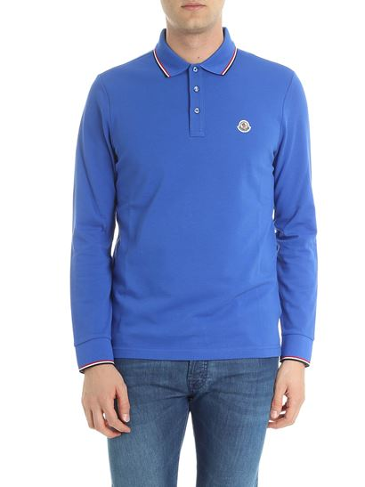 moncler blue long sleeve polo