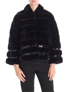 Twin-Set - Black eco-fur jacket with sequin inserts