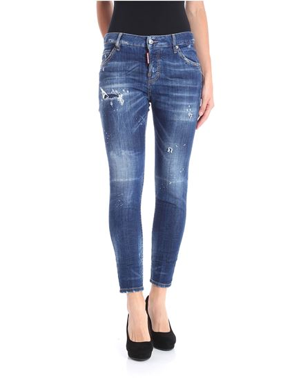Dsquared2 - Cool Girl Blue bleached jeans with rips