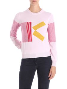 Kenzo - Pink and yellow geometric embroidered sweater
