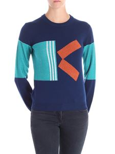 Kenzo - Blue and orange geometric embroidered sweater