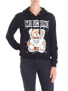 Moschino - Black sweatshirt with Teddy Bear print and safety pins