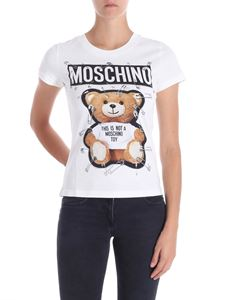 Moschino - White Teddy Bear T-shirt with safety pin prints