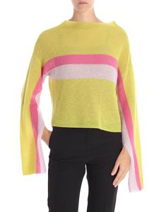 Liviana Conti - Green, pink and fuchsia sweater with wide collar