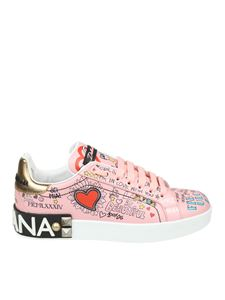 Dolce & Gabbana - Pink printed leather Portofino sneakers