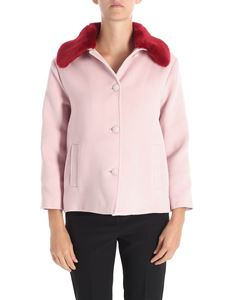 Trussardi Jeans - Pink coat with red eco-fur
