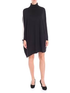 Liviana Conti - Black flared dress with high collar and beige insert