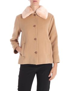Trussardi Jeans - Camel colored coat with pink eco-fur