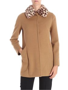 Trussardi Jeans - Camel colored coat with animalier eco-fur