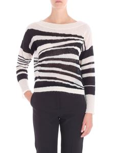 MY TWIN Twinset - Striped crop sweater with boat neckline