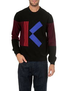 Kenzo - Black pullover with burgundy and blue logo inlay