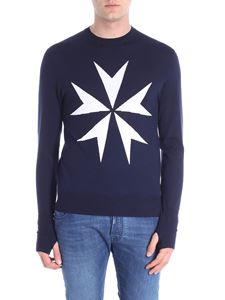 Neil Barrett - Dark blue pullover with white embroidery