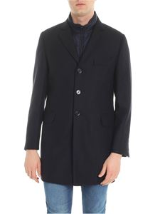 Fay - Blue wool and cashmere coat with waistcoat