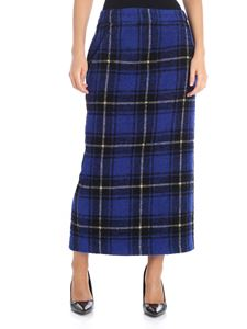 Aspesi - Electric blue tartan long skirt