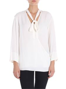 Theory - Ivory blouse with ribbon on the neckline