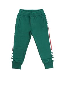 MSGM - Green pants with white and red logo prit