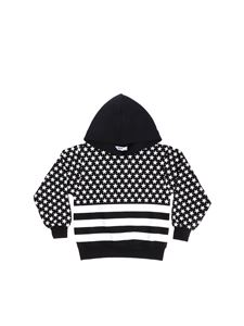 MSGM - Black sweatshirt with all-over white star print