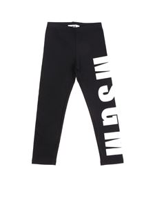 MSGM - Black leggings with white logo print