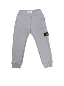 Stone Island Junior - Grey sweatpants with side pockets