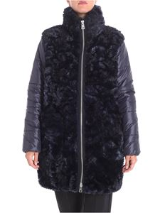 Fay - Blue jacket with eco-fur insert
