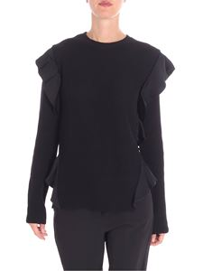 Red Valentino - Fisherman ribbed sweater with ruffles