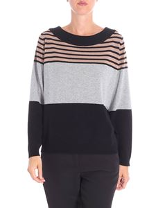 Kangra Cashmere - Gray colorblock striped pullover