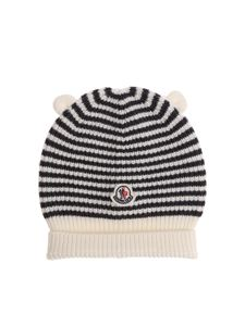 Moncler Jr - White and gray striped beanie