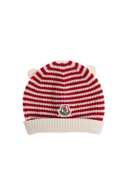 Moncler Jr - Red and white striped beanie