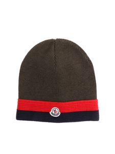 Moncler Jr - Green wool beanie with logo