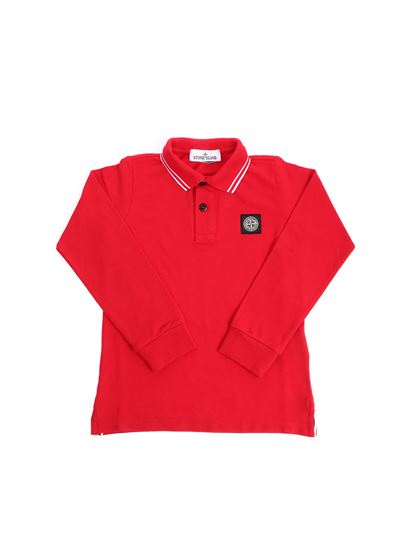 Stone Island Junior - Red polo with black logo