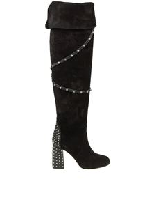 Red Valentino - Black suede boots with studs applied