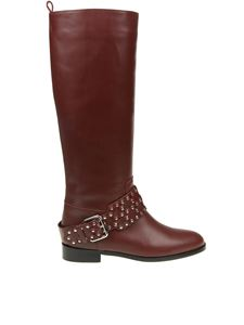 Red Valentino - Burgundy flower puzzle leather boots