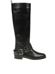 Red Valentino - Black flower puzzle leather boots