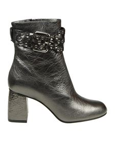 Red Valentino - Anthracite leather Flower Puzzle ankle boots