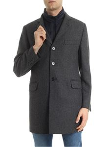 Fay - Brown and blue wool and cashmere coat