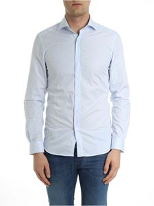 Fay - White and light blue micro-checked shirt