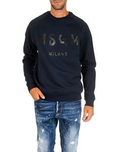 MSGM - Blue crewneck sweatshirt with logo