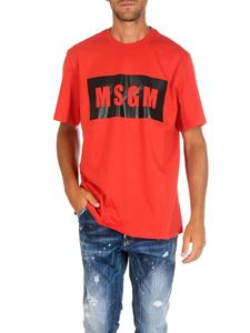 MSGM - Red short sleeve t-shirt with logo