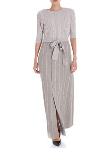 Lorena Antoniazzi - Dove grey dress with white mohair inserts
