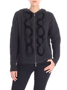 Lorena Antoniazzi - Anthracite cardigan with black mink inserts