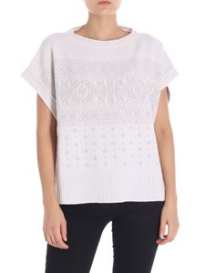 Lorena Antoniazzi - Beige geometric embroidered sweater
