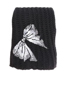 Blugirl - Black tricot effect scarf with sequin bow