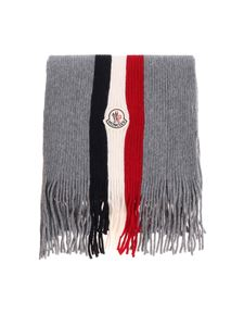 Moncler - Gray scarf with knitted logo