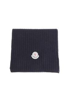 Moncler - Dark blue knitted scarf
