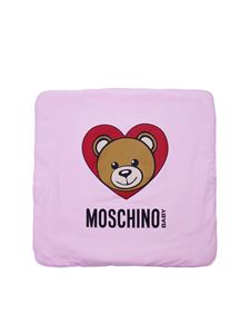 Moschino Kids - Pink blanket with Teddy Bear print