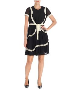 Red Valentino - Embroidered black pleated dress with lace ribbons