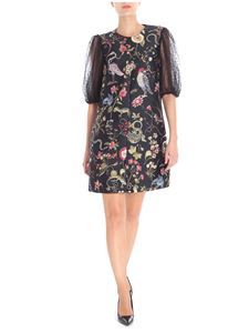 Red Valentino - Brocade black dress with floral embroidery