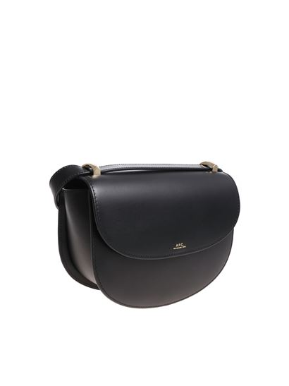 A.P.C. - Black bag with front flap and logo